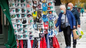Face masks for sale in abundance in Dublin city centre. Photograph: Paul Faith/AFP/Getty