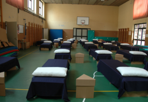 Corrugated beds in use