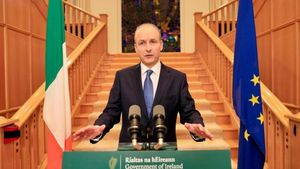 Taoiseach Micheál Martin announces a move to Level 5 for the whole State, at Government Buildings in Dublin. Photograph: Julien Behal/Pool/AFP via Getty Images